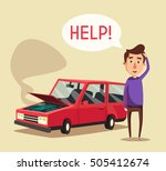 broken car. vector cartoon... | Shutterstock .eps vector #505412674