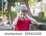 stressed out little 5 year old... | Shutterstock . vector #505421320