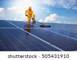 man cleaning  solar power... | Shutterstock . vector #505431910