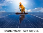 man cleaning  solar power... | Shutterstock . vector #505431916