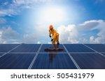 man cleaning  solar power... | Shutterstock . vector #505431979