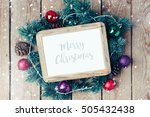 christmas photo frame mock up... | Shutterstock . vector #505432438