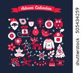 christmas advent calendar with... | Shutterstock .eps vector #505434259