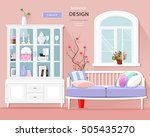 stylish graphic room interior... | Shutterstock .eps vector #505435270