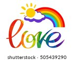 gay rainbow with letters. gay... | Shutterstock .eps vector #505439290