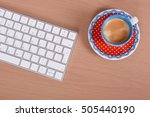 wooden office  keyboard and...   Shutterstock . vector #505440190