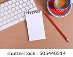 office supplies  keyboard coffe ...   Shutterstock . vector #505440214