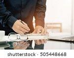 architect working on blueprint. ...   Shutterstock . vector #505448668