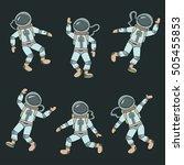 astronauts  cosmonauts  cartoon ... | Shutterstock .eps vector #505455853