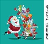 cartoon santa claus pushing a...   Shutterstock .eps vector #505462609