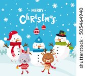 merry christmas greeting card... | Shutterstock .eps vector #505464940