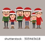 happy family in christmas hats. ... | Shutterstock .eps vector #505465618