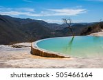 hierve el agua  thermal spring... | Shutterstock . vector #505466164