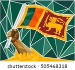 strong hand raising the flag of ...   Shutterstock .eps vector #505468318