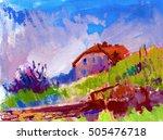 beautiful house watercolor oil