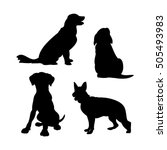black silhouettes of dogs on a... | Shutterstock .eps vector #505493983