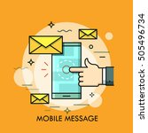 hand touching smartphone screen ... | Shutterstock .eps vector #505496734