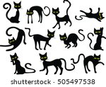 Stock vector black cats silhouettes vector clip art 505497538