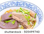 duck noodle soup on white... | Shutterstock . vector #505499740