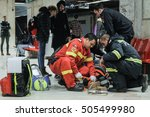 Small photo of Bucharest, Romania, 13 February 2016: SMURD ( Mobile Emergency Service for Resuscitation and Extrication) intervenes for reanimate a lady who fainted in the subway station Universitate, in Bucharest.