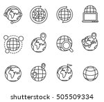 planets icons set. earth  thin... | Shutterstock .eps vector #505509334