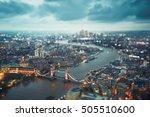 london skyline with illuminated ... | Shutterstock . vector #505510600