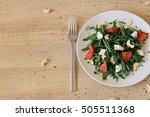 fresh salad with tomato  feta... | Shutterstock . vector #505511368