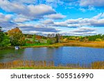 view to landscape with farm and ... | Shutterstock . vector #505516990