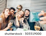 group of friends sitting at... | Shutterstock . vector #505519000