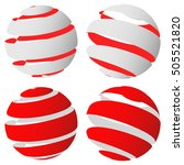 3d abstract striped sphere in... | Shutterstock .eps vector #505521820