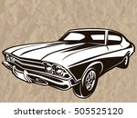 retro muscle car vector... | Shutterstock .eps vector #505525120