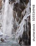 Frozen Beautiful Waterfall In...