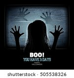 ghost girl emerges through... | Shutterstock .eps vector #505538326