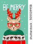 christmas greeting card with... | Shutterstock .eps vector #505539958