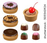 cake donuts sweets set of... | Shutterstock . vector #505543924