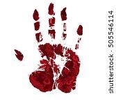 horror blood hand print. | Shutterstock .eps vector #505546114