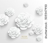 paper flower. rose cut out of... | Shutterstock .eps vector #505547950