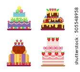 pie for birthday isolated cake...   Shutterstock .eps vector #505548958