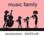 Vector music family silhuettes - stock vector