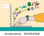 sideview of laptop with hand... | Shutterstock .eps vector #505562968