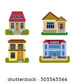 houses front view vector... | Shutterstock .eps vector #505565566