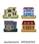 houses front view vector... | Shutterstock .eps vector #505565593
