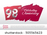98th anniversary logo with red... | Shutterstock .eps vector #505565623