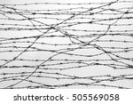 fencing. fence with barbed wire.... | Shutterstock . vector #505569058