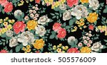 Stock vector classic wallpaper seamless vintage flower pattern background 505576009