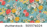 Stock vector classic wallpaper seamless vintage flower pattern background 505576024
