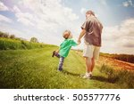 father and son taking a walk... | Shutterstock . vector #505577776