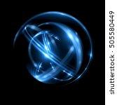 3d atom icon. luminous nuclear...   Shutterstock . vector #505580449