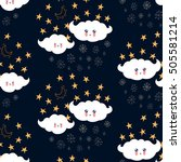 seamless pattern with cute... | Shutterstock .eps vector #505581214