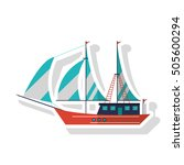 isolated sailboat ship design | Shutterstock .eps vector #505600294